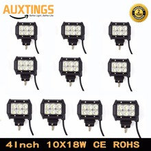 "DISCOUNT 10PCS 4""INCH 18W WATT SPOT FLOOD Crees 18w led work light 110V led light bar offroad FOR 4X4 led driving light"