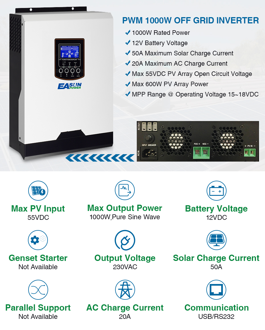 EASUN POWER Solar Inverter 1KVA 12V 220V Pure Sine Wave Hybrid Inverter Built-in 50A PWM Solar Charge Controller Battery Charger_01