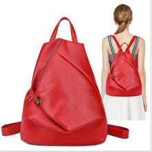 High Quality leather women backpack Fashion Side Zipper backpacks for teenage girls black casual travel school bag