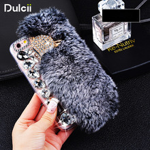 For iPhone 7Plus Cover Trendy Luxurious Rabbit Hair and Shiny Diamond Silicone Phone Case for iPhone 8 Plus 5.5/ 7 Plus 5.5 inch(China)