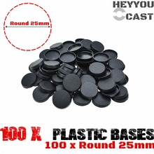 25mm Round Plastic bases for gaming miniatures and table games 100pcs(China)