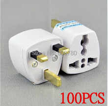 High quality 100 Pcs / Lot Universal EU US AU to UK AC Travel Power Plug Charger Adapter Converter Travel Adaptors UK