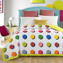 1PCS Cotton Color point printed Bedspread/ Soft summer Duvet Quilt/150x200cm and 200x230cm cotton bed cover(China)