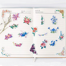 45pcs/pack Kawaii Flowers Stickers Cute Diary Decoration Scrapbooking DIY seal Sticker Stationery Free shipping