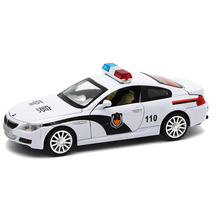 M Series Diecast Metal Car Model 1:32 Police Car with Sound and Light Mini Pull Back Alloy Cars Boy Simulation Auto Toys