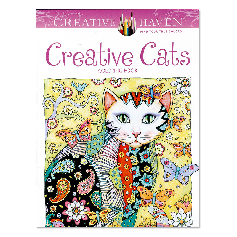 24 page Creative Haven Creative Cats Colouring Book For Adults Antistress Coloring Book Secret Garden Series Adult Coloring Book(China)