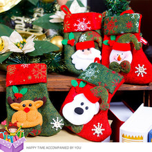 Santa Claus Candy Gift Bag Plaid Christmas Socks Xmas Tree Hanging Ornament Decoration Festival Crafts - Happyness of Life store