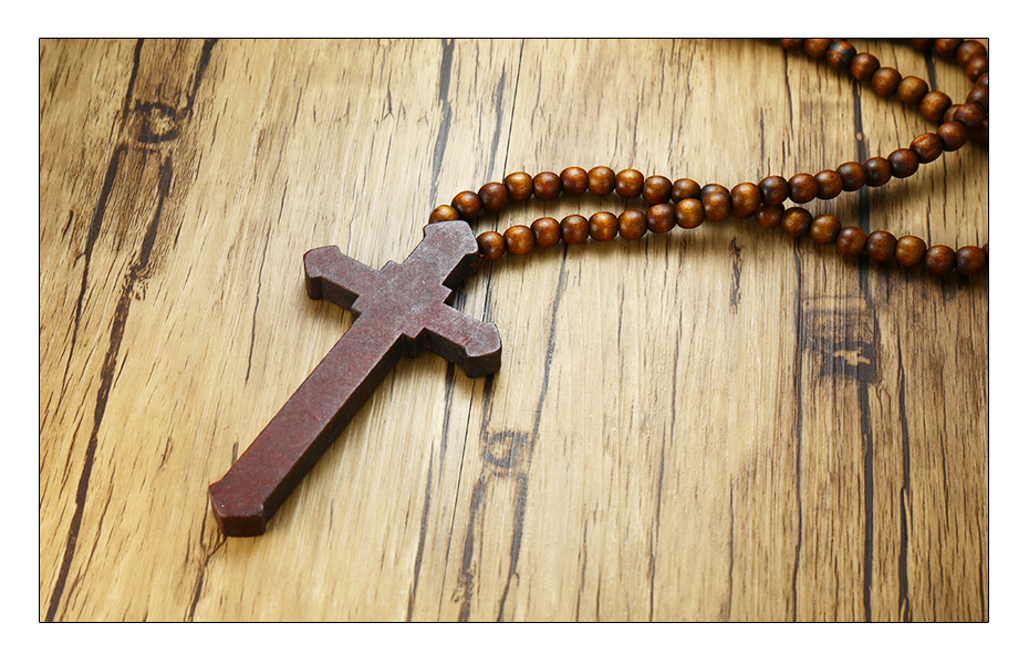 Meaeguet Large Wood Catholic Jesus Cross With Wooden Bead Carved Rosary Pendant Long Cruz Collier Statement Necklace Men Jewelry (12)