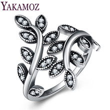 YAKAMOZ Vintage Tree of Life Ring with Cubic Zirconia Fashion Hollow Rings for Women Wedding Daily Jewelry Silver Color Gifts(China)