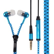Promation Metal Zipper Earphone Headphonei 3.5mm Wired Ear Phones With Microphone Stereo Bass For  Mobile Phone MP3/4+free ship