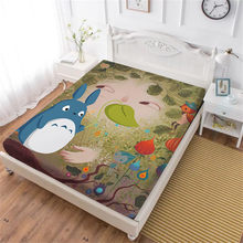 Cute Totoro Bed Sheet Cartoon Green Leaves Plant Print Fitted Sheet Twin Full King Queen Bedding Kids Bedclothes Deep Pocket D45(China)