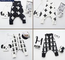 2017 hot style Baby clothes sets fashion baby romper 0-2 years old 3 to 5 month sleeveless bib pants for spring and autumn(China)