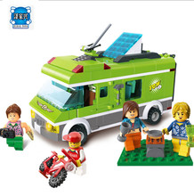 394pcs City Bus Police Serises Travel 5 Figures and Car Building Blocks Educational Bricks Toys compatible lepins