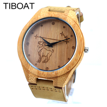 TIBOAT Twelve constellations Aries Natural Bamboo Watch Genuine Leatehr Wooden Men Womens Watches Handmade Clock Dropshipping