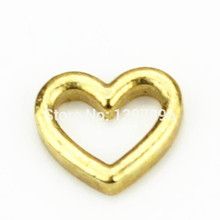New Arrival Gold hollow out Peach Hearts floating charms for living glass floating lockets 30pcs/lot