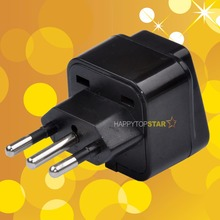 Black Universal EURO Brazil Russia Israel Swden Swiss 2 3 Pins Socket to Italy Italia 3 Pin Travel Power Adapter Adaptor Plug(China)