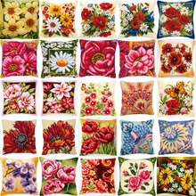 Flower style 03 JCS Crafts Cushion Printed Cross Stitch Kits Tapestry pillow KIT Home Decorative Pillows Needlework cushion(China)