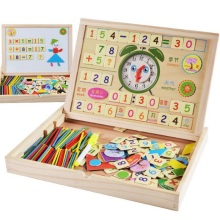 SUKIToy multifunctional Wooden Toy Magnetic Board/number card/puzzle/sticks/clock/Mathematic/Jigsaw/Drawing high quality gift