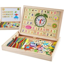 SUKIToy multifunctional Wooden Toy Magnetic Board/number card/puzzle/sticks/clock/Mathematic/Jigsaw/Drawing high quality gift(China)