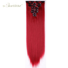 SNOILITE Dark Red Hairpiece 23inch 170g Straight 18 Clips in False Hair Styling Synthetic Hair Extensions 8pcs/set