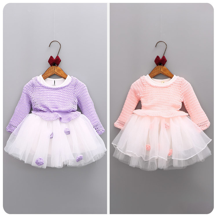 2016 Korean Childrens Garment Autumn 2 Pieces Set New Pattern Girl Baby Knitting  Sweater Yarn Split Joint Dress Suit<br>