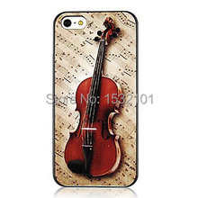 Vivid Violin and Musical Note Plastic Hard Cover Case for iPhone 4 4S 5 5S SE 5C 6 6S Plus Touch 5(China)