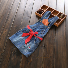 New Arrival Baby Girls Denim Sundress Girls Character Sundress With Belt Girls Suspender Denim dress Kids Sashes Sundress(China)
