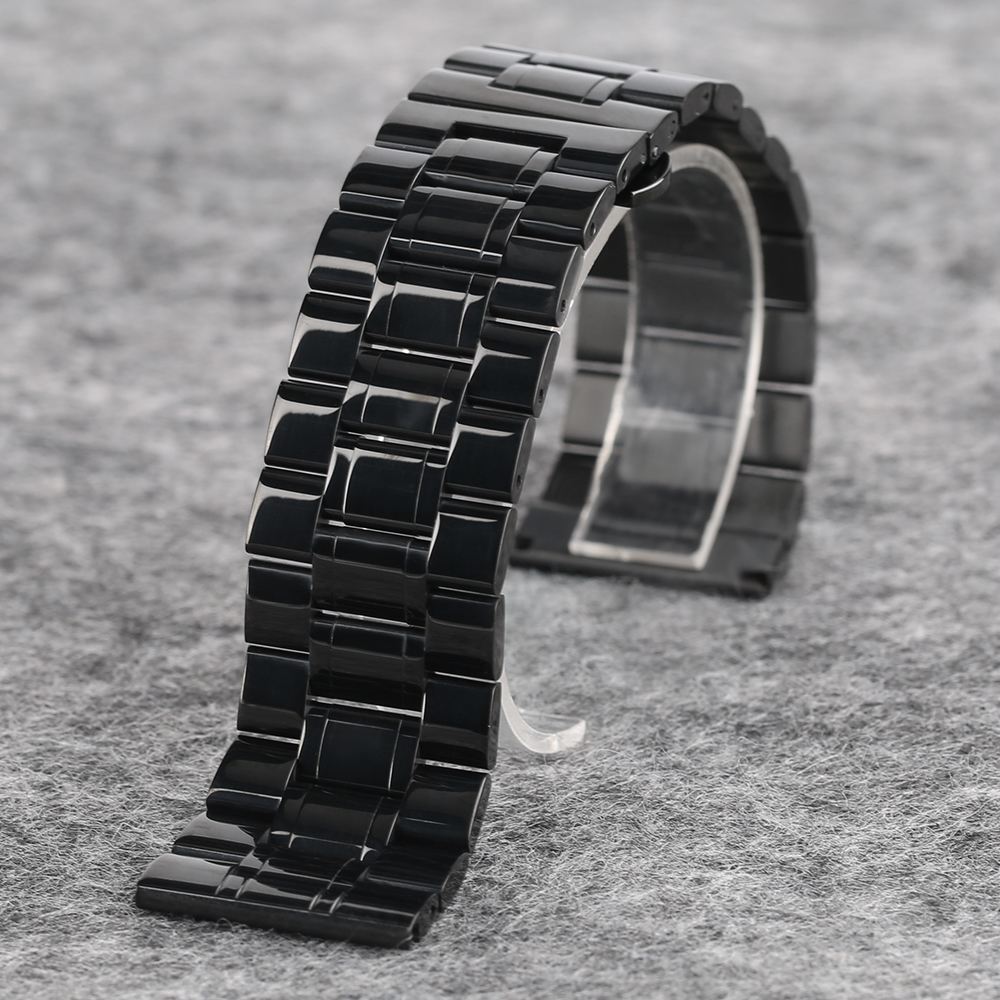 YISUYA High Quality Butterfly Buckle Watch Band Men's Black Wrist Band Strap 18 19 20 mm Stainless Steel Replacement with Tag (7)