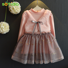 Fashion Grils Dress 2016 New Winter Dresses Children Clothing Princess Dress Pink Long Sleeve Wool Bow Design Kids Girls Clothes
