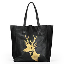 2017 Real Cow Leather Women Shoulder Bag Soft Leisure Handbag Fashion Designer Female Tote Bag Deer Printing Composite Bag