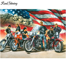 REALSHINING 5D DIY Diamond Embroidery Motorcycle Competition Diamond Painting Cross Stitch full Square Rhinestone Mosaic FS633(China)