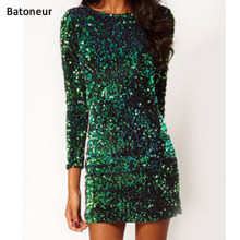 Buy Green Sequin Dress bodycon 2017 sexy bandage Dress women Party Mini paillettes Dresses ukraine vestido de festa for $12.08 in AliExpress store