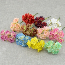 6PCS MINI Silk rose Artificial Flowers Bride Bouquet Wedding Decoration Bride with wrist flower Scrapbooking wreath Fake Flowers