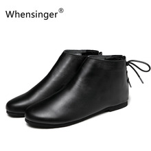 Whensinger - 2017 Winter Genuine Leather Boots Women Winter Shoes Warm Short Plush Round Toe Lace-Up Design F040