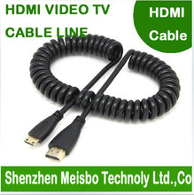 High density speed Retractable spring wire Gold Plated plug flat HD connector monitor 1.4V 3D Mini HDMI to HDMI cable