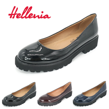 Hellenia Patent PU Pumps Women Rounded toe Low Heel Shoes Lady Slip On Casual classic lady shoelaces wine Navy black PU leather(China)