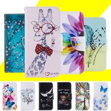 Pattern Case For Huawei Honor 5C/GT3/Honor 7 Lite/Nemo Giraffe Flip Wallet PU Leather Cover Card Slots Holder Stand Phone Cases(China)