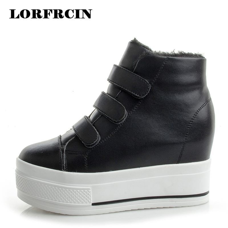LORFRCIN Women Ankle Boots Genuine Leather Casual Shoes Woman Autumn Winter Hidden Heel Platfrom Snow Boots High Top Sneakers<br>
