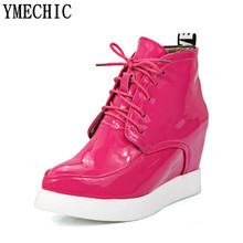 YMECHIC Plus Size Casual Shoes Woman Solid White Pink Black Lace Up Ankle Boots Pointed Toe Women's Wedges Boot FemaleT108-3