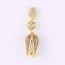 Rose Gold/Silver/Gold Colors Micro Pave Inlay Zircon Tulips Flower Charm Pendants For Necklace Women Diy Pendant Jewelry Finding(China)