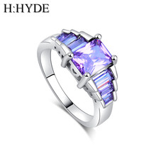 H:HYDE New jewelry 4 Colors CZ Cubic Zirconia Stone  Charming silver wedding ring for women size 7-9 anillos mujer