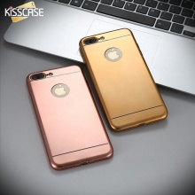 KISSCASE Luxury Gold Soft TPU Case For Iphone 7 7 Plus Ultra Thin Plating Phone Back Cover For Iphon7 Case With Logo Coque Shell