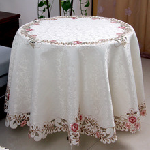 Pink Pastoral floral embroidered round tablecloth for restaurant Cafe Home Decoration 1pcs price 5 sizes Free Ship