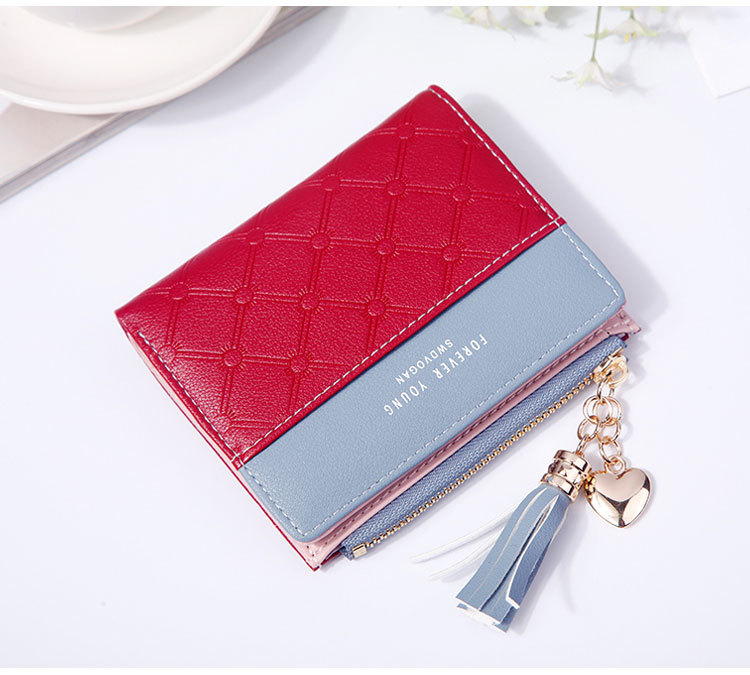 2018 Fashion Ladies Wallet Female Short Zipper Coin Purse Small Wallets Young Womens Tassel Hasp Purses Button Card Holder Pouch 80