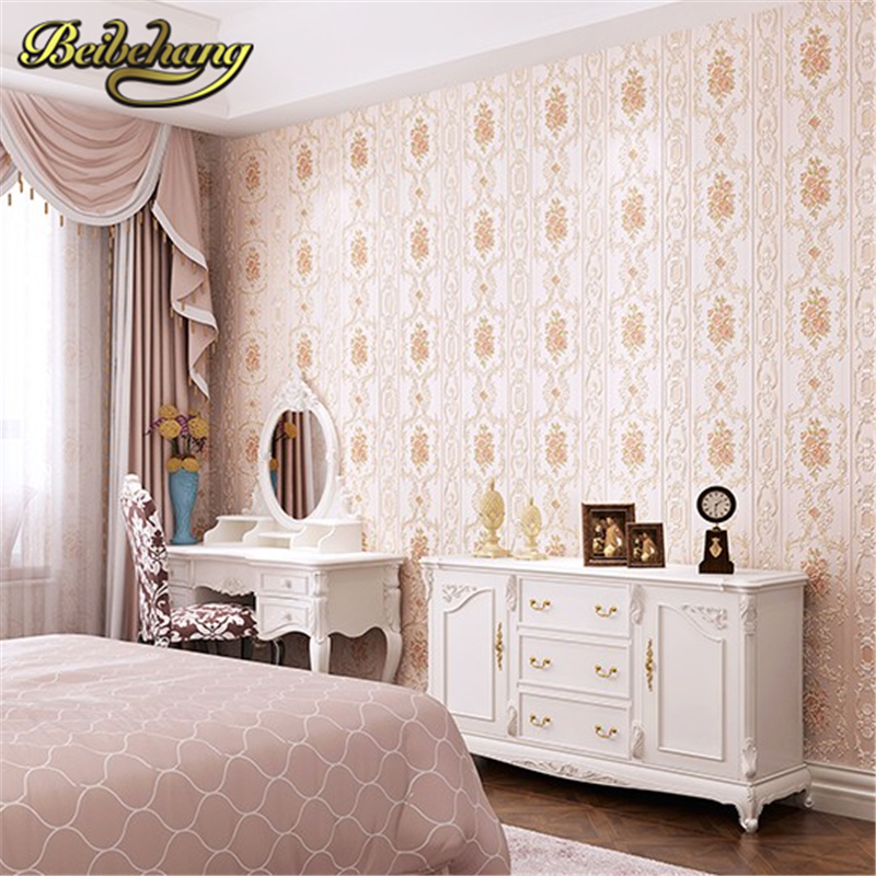 beibehang European non-woven wall paper roll wallcovering luxury wallpaper for walls 3 d floral papel de parede 3D papel contact<br>