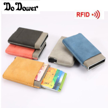 Automatic Credit Card Holder Rfid Wallet Rfid Blocking Slim Mini Wallet Metal Aluminum Card Case Protector Pop Up ID Card Holder