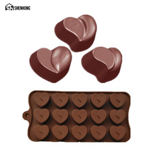 SHENHONG Love Heart Shaped Chocolate Mould 15 Holes 3D Mold Mousse Art Silicone Cake Dessert Moule Baking Pastry Pan Bakeware(China)