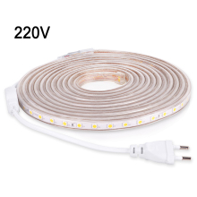 NEW AC 220V LED Strip SMD5050 Flexible LED Light 1M/2M/3M/4M/5M/10M 60leds/M Home Decoration Lamps Waterproof With EU Plug