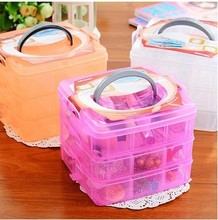 Organizador Makeup Organizer Three Removable Transparent Plastic Storage Box Grid Cosmetic Hair Accessories Multi-compartment
