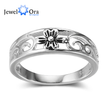 Flower Pattern Hollow Out Fashion Solid 925 Sterling Silver Rings For Women Party Jewelry (JewelOra RI102354 )(China)